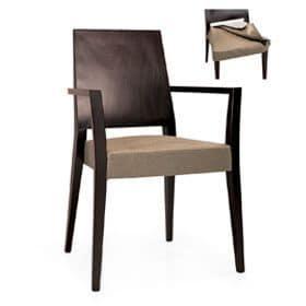 Timberly 01723, Poltroncina impilabile, struttura in legno massiccio, seduta imbottita, copertura in tessuto, per sale da pranzo