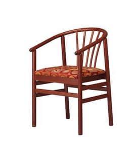 401, Sedia con braccioli in faggio, con seduta imbottita