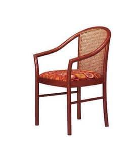 406 C, Sedia con braccioli, schienale in canna, per salotti
