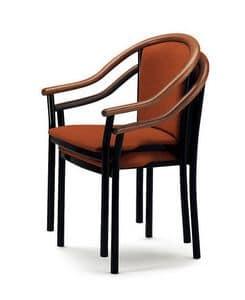 408, Sedia con braccioli, elegante e classica, per bar