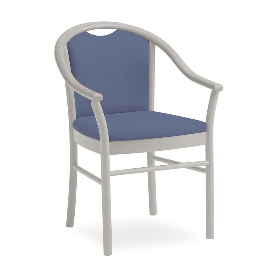 Dolly L1175 M, Sedia classica con braccioli, funzionale, per alberghi