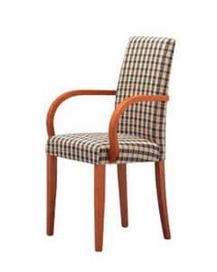 298, Sedia con braccioli, imbottita, per cucine e ristoranti