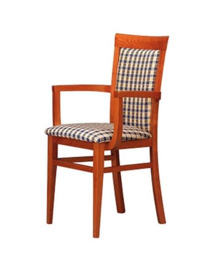 Sedia imbottita con braccioli, essenziale, per soggiorni