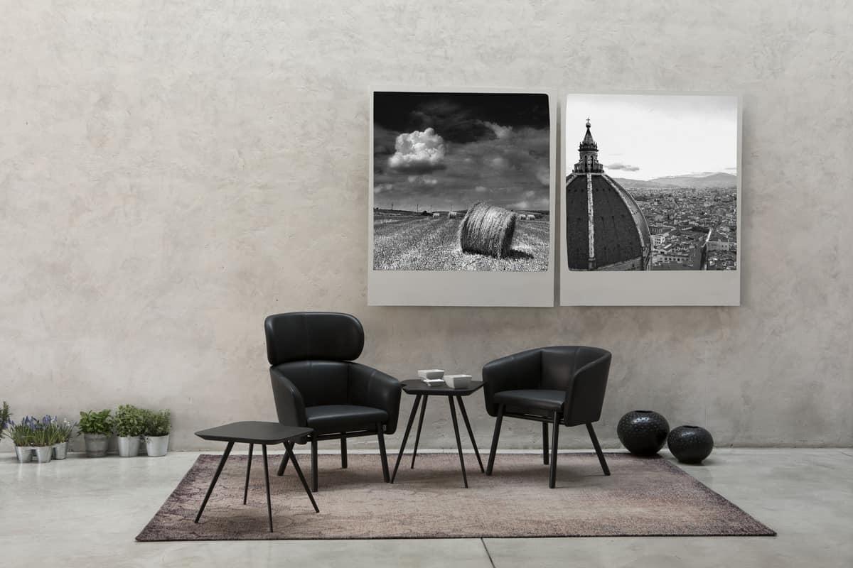 ART. 0050 BALÙ, Confortevole poltrona a pozzetto per casa e contract