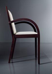 ART. 192 LUNA, Sedia con braccioli imbottita, in faggio, per soggiorni