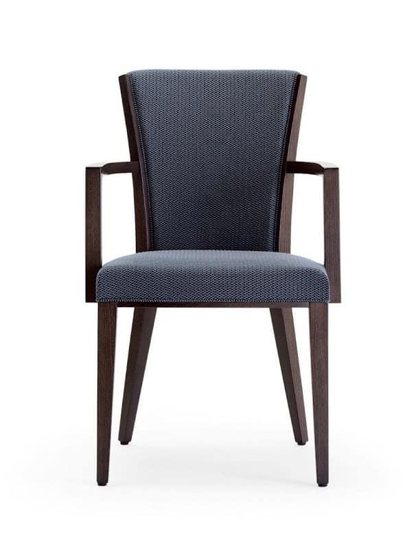 C42, Poltroncina in legno, seduta e schienale imbottiti, rivestiti in tessuto, per ambienti contract e domestici