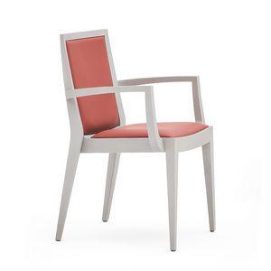 Flame 02121, Poltroncina in legno massiccio, seduta e schienale imbottiti, copertura in tessuto, stile moderno
