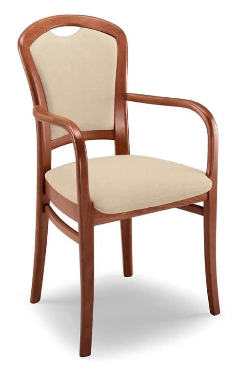 Sedia robusta imbottita con braccioli, struttura in faggio | IDFdesign