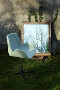 KAYRA sedia con piantana, Poltroncina design imbottita con base bassa a 4 razze