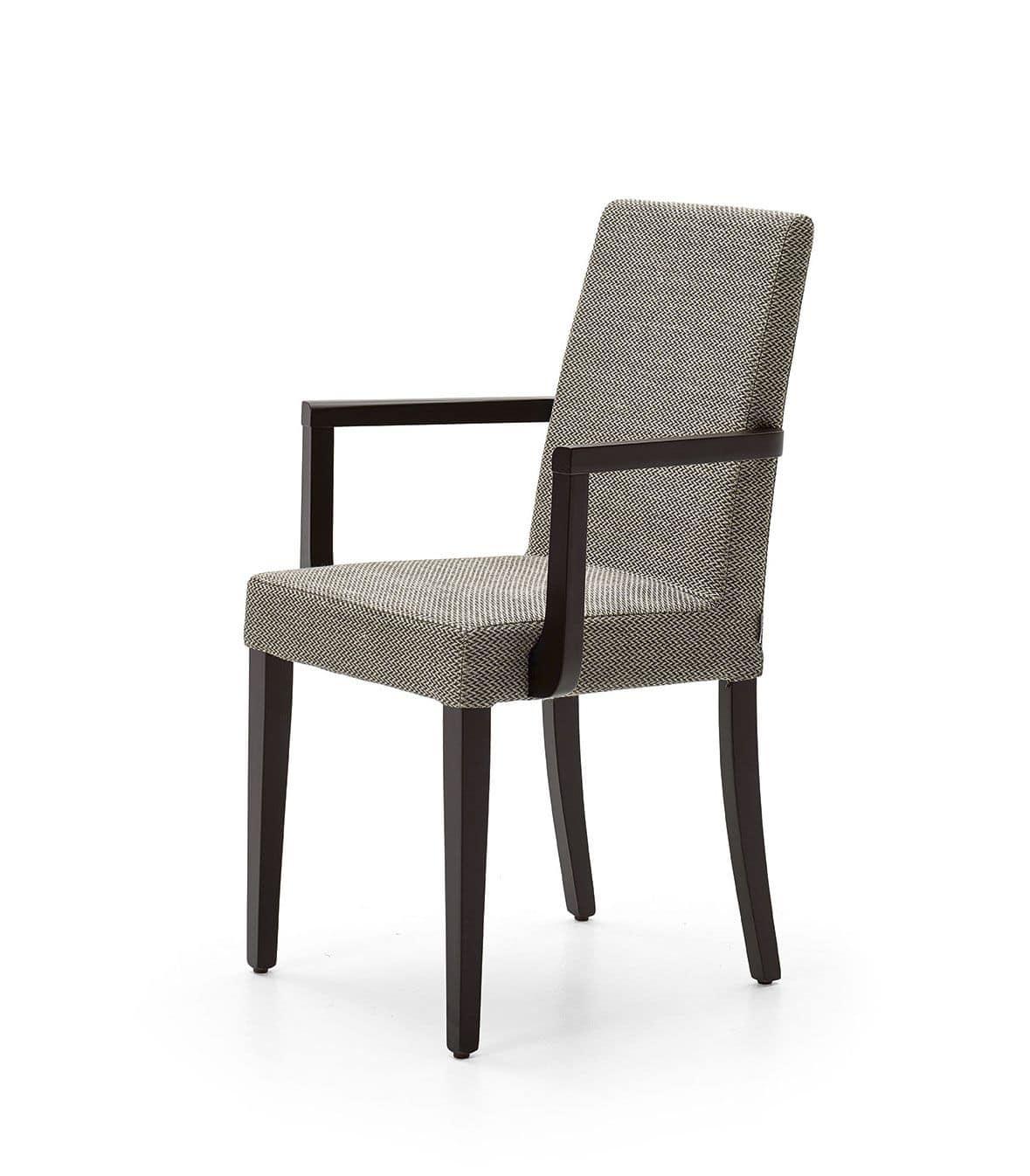 Sedia imbottita con braccioli, per sala da pranzo | IDFdesign
