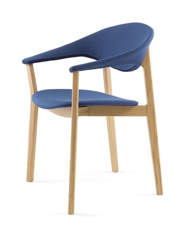 sedia design con braccioli essenziale imbottita idfdesign