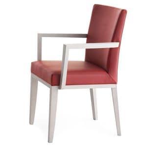 Logica 00935, Poltroncina in legno massiccio, seduta e schienale imbottiti, per ambienti contract e domestici