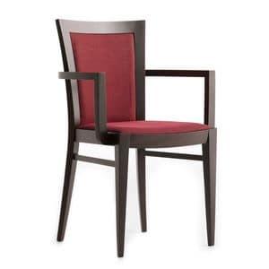 Miro 00521, Poltroncina in legno massiccio, seduta e schienale imbottiti, copertura in tessuto, per ambienti contract