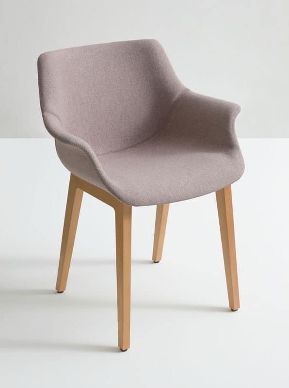 More UPH BL, Sedia con braccioli, base in legno, stile essenziale