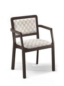 Morena PL-I, Sedia con braccioli, imbottita, per pizzerie e case