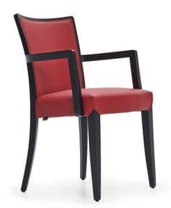 Nobilis sedia con braccioli, Sedia con braccioli, in legno massello, per uso contract