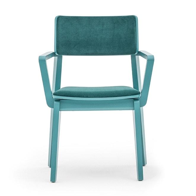 Offset 02823, Poltroncina in legno massiccio, seduta e schienale imbottiti, in stile moderno