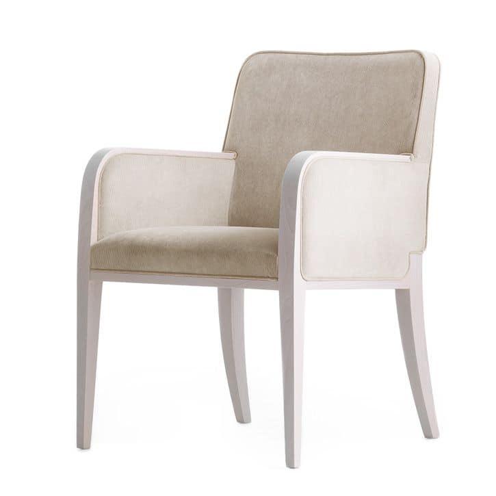 Opera 02231, Poltroncina in legno massiccio, seduta e schienale imbottiti, copertura in tessuto, stile moderno