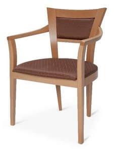Sedia in legno con braccioli, imbottita, per pasticcerie | IDFdesign