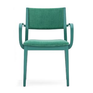 Sintesi 01522, Poltroncina in legno massiccio, seduta e schienale imbottiti, per ambienti contract e domestici