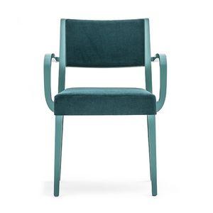 Sintesi 01524, Poltroncina in legno massiccio, seduta e schienale imbottiti, per ambienti contract e domestici