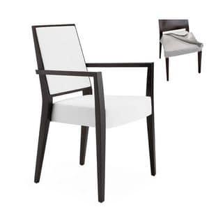 Timberly 01725, Poltroncina impilabile, struttura in legno massiccio, seduta e schienale imbottiti, tessuto della seduta sfoderabile, per ambienti contract e domestici