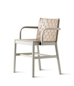 ART. 0022-CU-LE-AR JULIE, Sedia con braccioli, con intreccio in cuoio