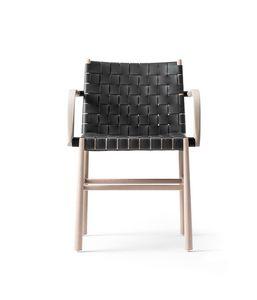 ART. 0023-CU-AR JULIE, Sedia in legno con braccioli, rivestita in pelle