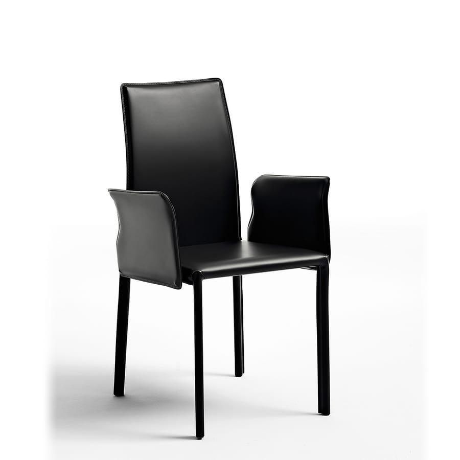 sedia moderna imbottita in gomma rivestita in pelle