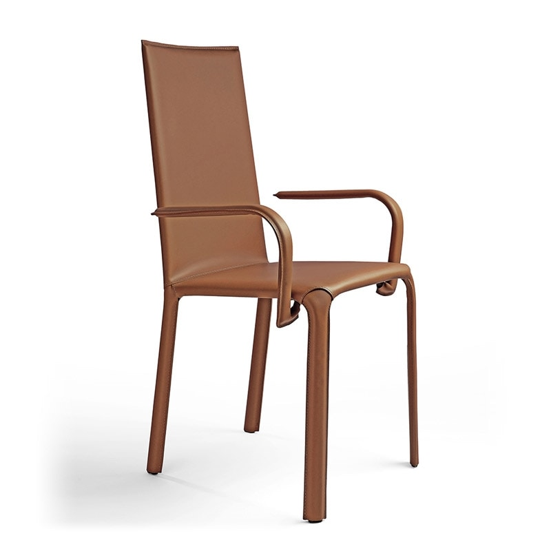 Sedia con braccioli sedile in pelle per hotel idfdesign