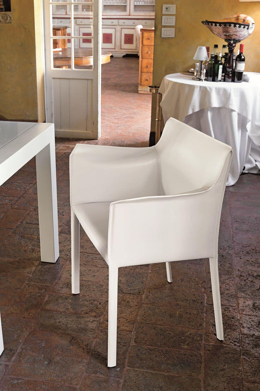 Poltroncina rivestita in pelle per sale da pranzo e bar idfdesign for Poltroncine in pelle