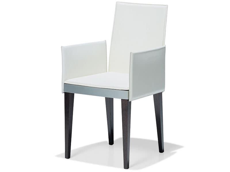 sedute sedie moderne rivestite in pelle con braccioli idf