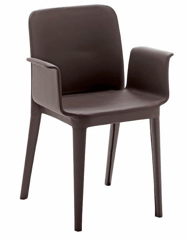 Sedia con braccioli moderna rivestita in pelle idfdesign for Poltroncine in pelle