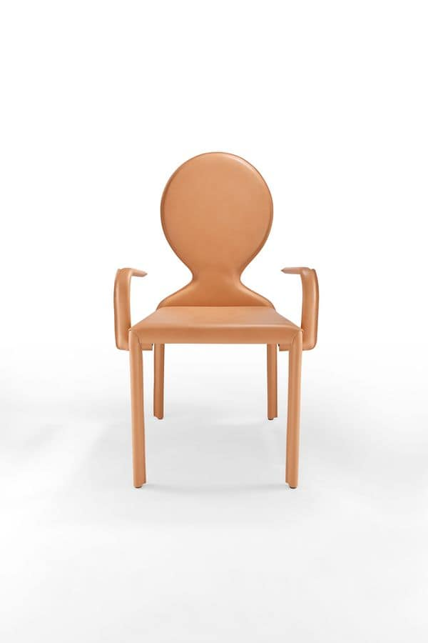 Sedia moderna con rivestimento in pelle schienale ovale idfdesign for Poltroncine in pelle