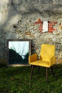 VENICE sedia, Poltroncina in legno e pelle con cuciture a vista