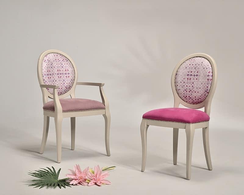 ADELAIDE capotavola 8030A, Poltroncina con seduta imbottita, per ristorante di lusso