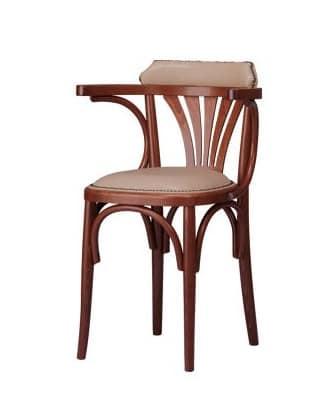 B04, Poltroncina in legno curvato, con seduta imbottita
