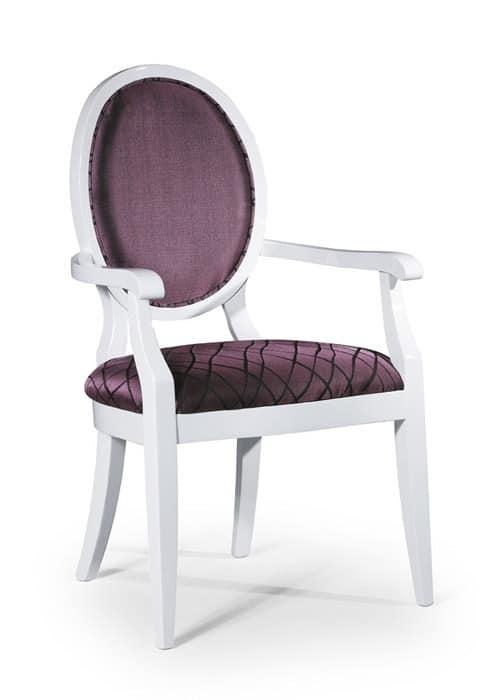 Sedia classica imbottita con braccioli e schienale ovale - Sedia imbottita con braccioli ...
