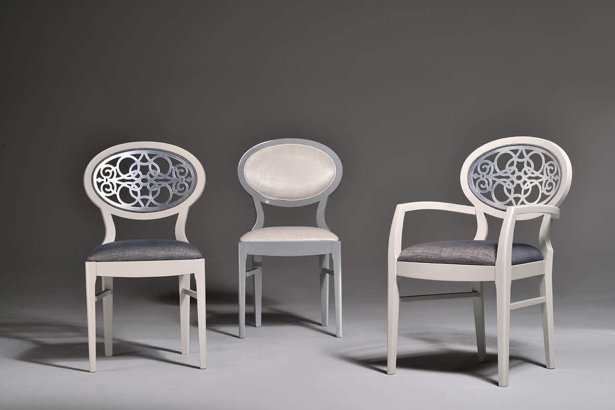 CLAIRE poltroncina 8391A, Poltroncina con schienale ovale intagliato, stile classico