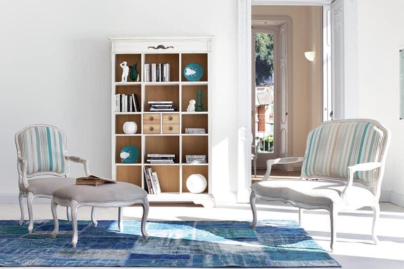 Sedia laccata con braccioli sedile in tessuto soggiorno idfdesign