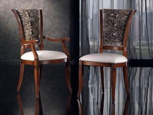 IRIS poltroncina 8523A, Sedia da pranzo capotavola, in legno con imbottitura