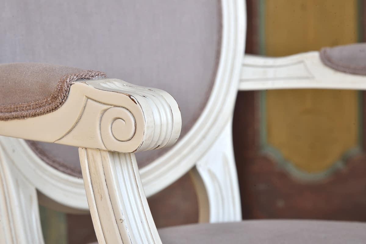 LUIGI XVI poltroncina 8023A, Sedia capotavola, stile Luigi XVI, personalizzabile