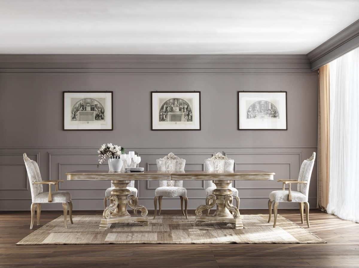 MISSIS sedia 8619S, Sedia da pranzo, rivestita con eleganti tessuti, stile classico