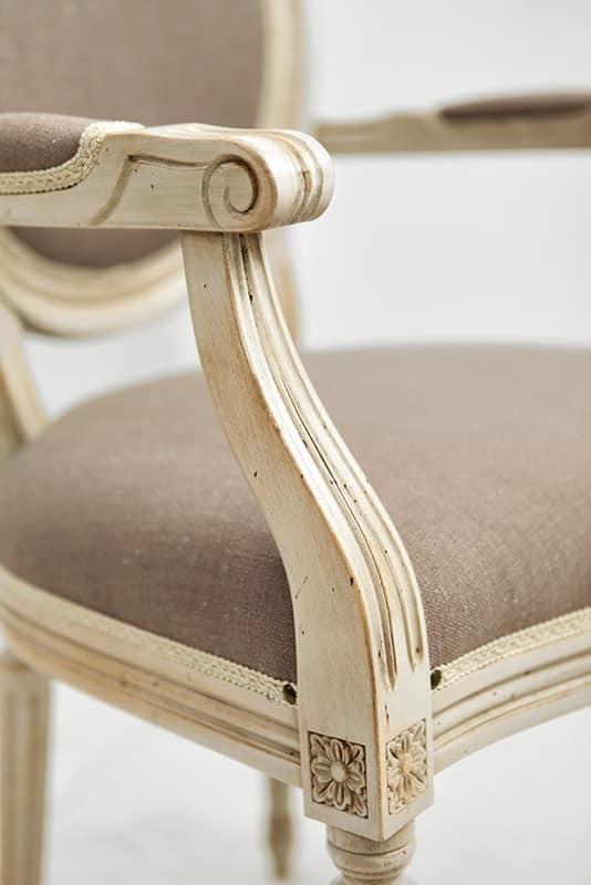 NADIR Art. 1190, Sedia laccata con braccioli, sedile imbottito
