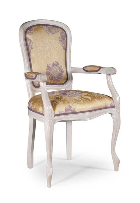 Sedia in stile classico con braccioli imbottiti per sala for Poltroncine per tavolo pranzo