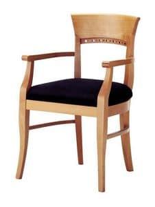 Atene P, Sedia classica in legno con braccioli, seduta imbottita
