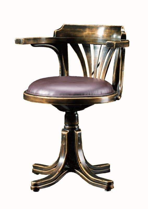 Vanessa FA.0161, Poltroncina girevole in legno curvo, in stile classico di lusso