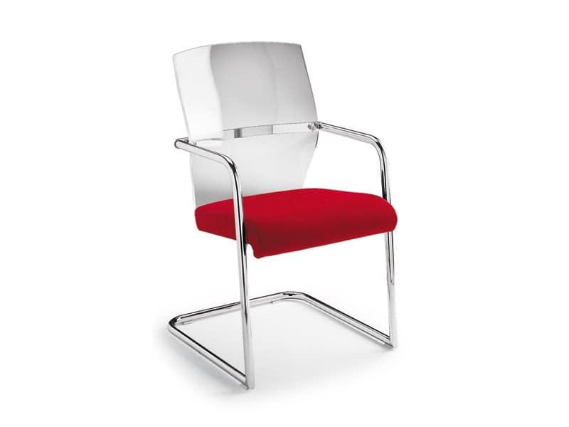 Ego Lux visitatore 53455, Sedia con base a slitta, seduta imbottita, per ufficio