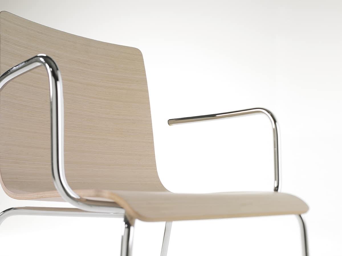 Tesa wood AR, Sedia impilabile in metallo, scocca in legno impiallacciato
