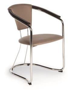Marta, Sedia con struttura in metallo e legno, seduta e schienale imbottito, per ristoranti e bar